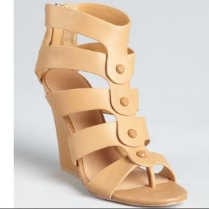 Lamb Tan Leather Miranda Studded Cage Sandals